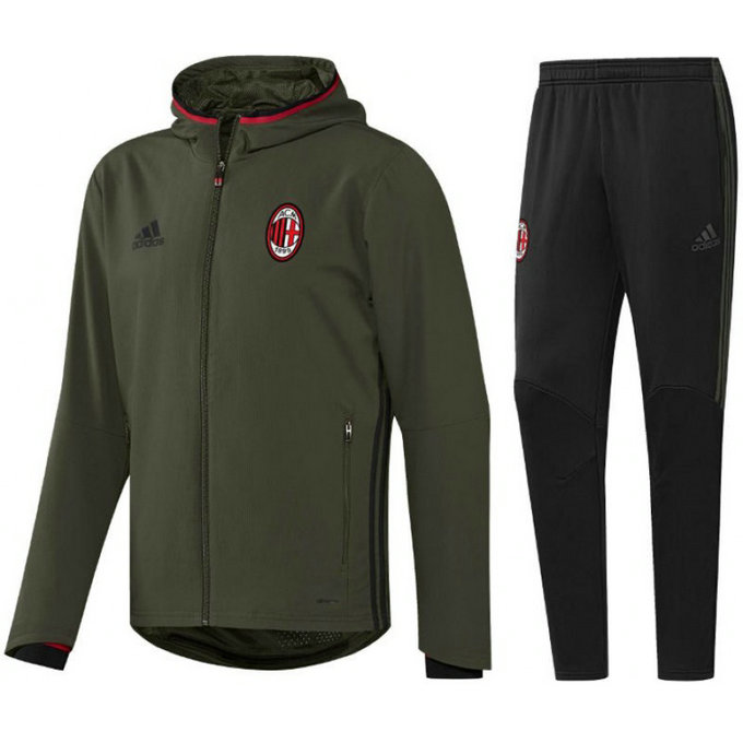 Survetement Milan Ac 2016/2017 Capuche Kaki